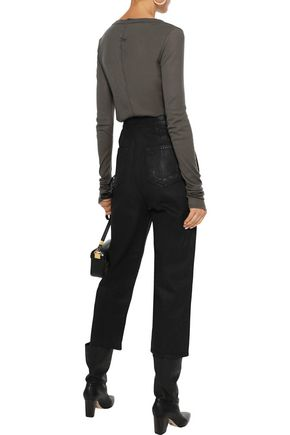 DRKSHDW by RICK OWENS Cropped coated high-rise straight-leg jeans