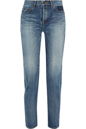 SAINT LAURENT Embroidered mid-rise straight-leg jeans