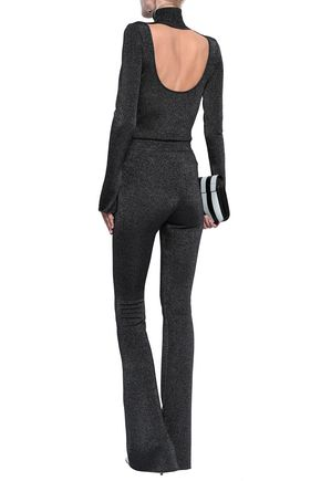 ROBERTO CAVALLI Metallic stretch-knit bootcut pants