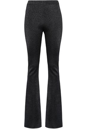 ROBERTO CAVALLI Metallic stretch-knit flared pants