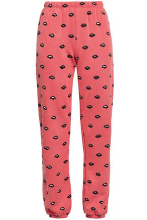 WILDFOX Printed cotton-blend fleece track pants