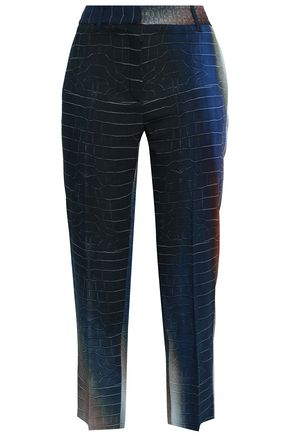 ROBERTO CAVALLI Cropped printed crepe tapered pants