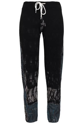 MONROW Tie-dyed French terry track pants