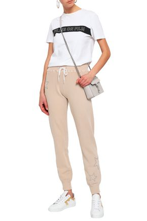 MONROW Studded French cotton-terry track pants
