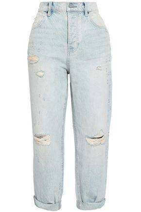 ALEXANDER WANG Cropped distressed high-rise boyfriend jeans