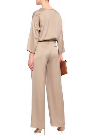 AGNONA Satin-crepe wide-leg pants