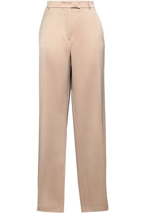 AGNONA Satin-crepe wide-leg pants
