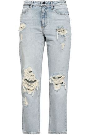 ALEXANDER WANG Distressed faded high-rise slim-leg jeans