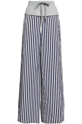 ALEXANDERWANG.T French cotton terry-paneled pinstriped twill wide-leg pants
