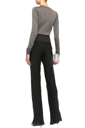 RICK OWENS Ribbed knit-paneled silk-chiffon bootcut pants