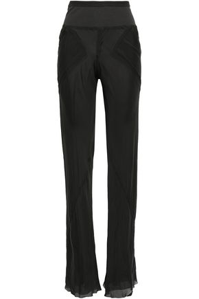 RICK OWENS Ribbed knit-paneled silk-chiffon bootcut pants