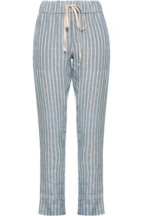 ENZA COSTA Striped linen straight-leg pants