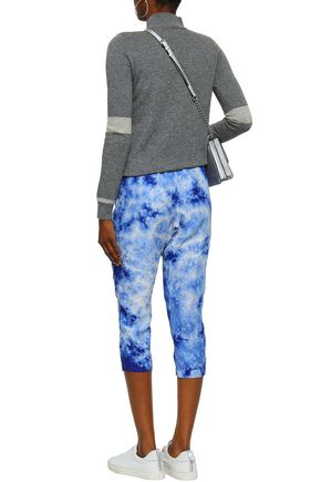 ENZA COSTA Cropped tie-dye washed-silk tapered pants