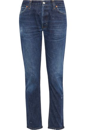 RE/DONE by LEVI'S Distressed low-rise straight-leg jeans