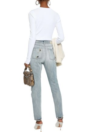 IRO Distressed mid-rise slim-leg jeans