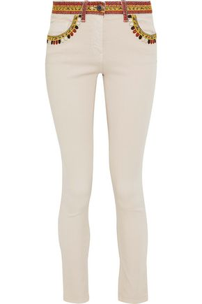 ETRO Embroidered low-rise skinny jeans
