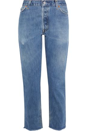RE/DONE with LEVI'S Cropped distressed mid-rise straight-leg jeans