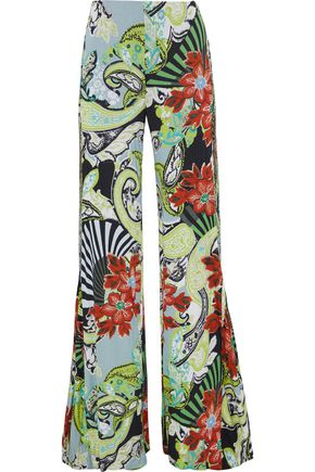 ETRO Pleated printed stretch-jersey wide-leg pants