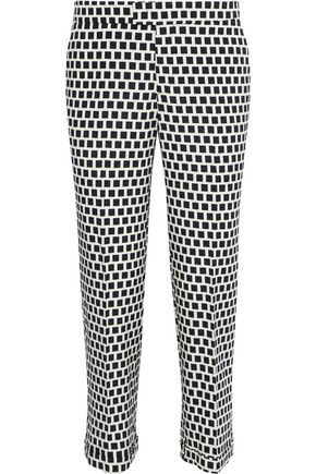 ETRO Cropped printed stretch-crepe straight-leg pants