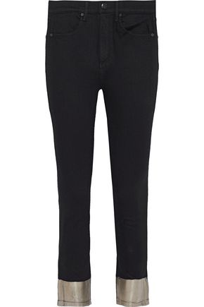 RAG & BONE Cropped metallic-trimmed high-rise skinny jeans