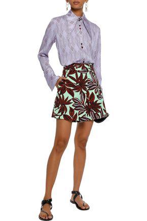 ETRO Printed stretch-cotton twill shorts