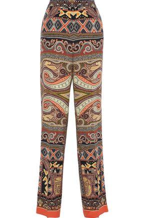 ETRO Printed silk crepe de chine straight-leg pants