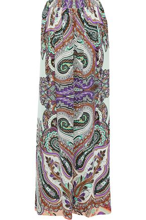 ETRO Printed crepe de chine wide-leg pants