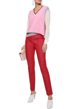 DIANE VON FURSTENBERG Cotton-blend twill slim-leg pants