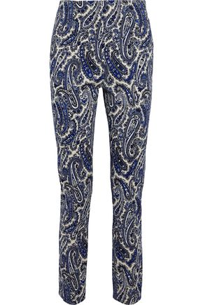 DIANE VON FURSTENBERG Printed stretch-cotton twill slim-leg pants