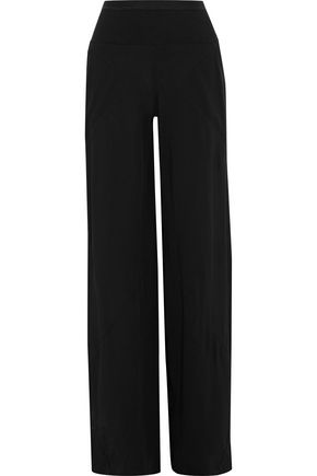 RICK OWENS LILIES Ribbed knit-paneled crepe wide-leg pants