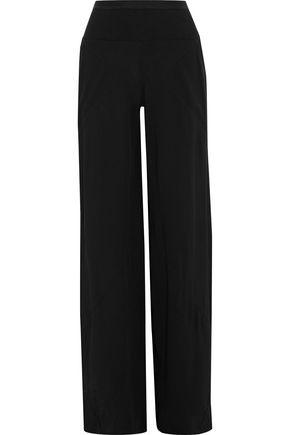 RICK OWENS Ribbed knit-paneled crepe wide-leg pants