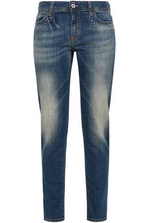 JUST CAVALLI Frayed mid-rise straight-leg jeans
