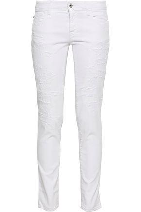 JUST CAVALLI Distressed mid-rise slim-leg jeans