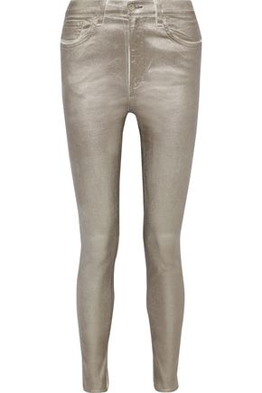 RAG & BONE Metallic high-rise skinny jeans