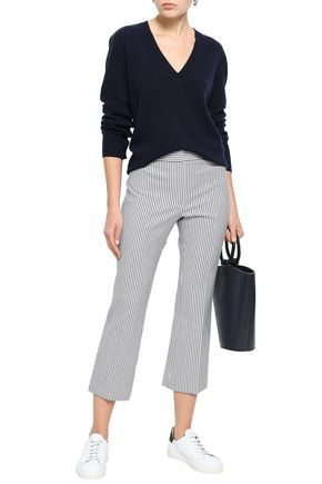 THEORY Cropped striped wool-blend bootcut pants