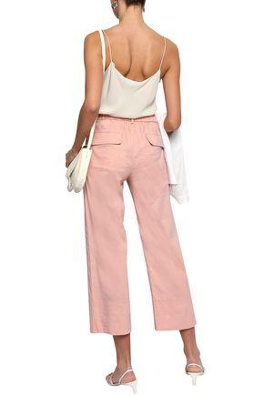 THEORY Cropped linen-blend straight-leg pants
