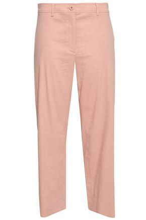 THEORY Cropped linen-blend straight-leg pants