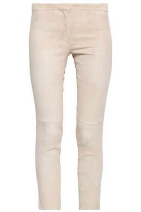 THEORY Cropped suede skinny pants