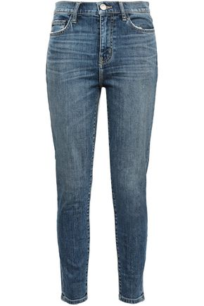 CURRENT/ELLIOTT The High Waist Stiletto faded high-rise skinny jeans