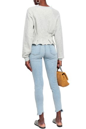 CURRENT/ELLIOTT The High Waist Ankle cropped distressed high-rise skinny jeans