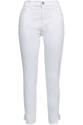 CURRENT/ELLIOTT The High Waist Stiletto frayed high-rise skinny jeans