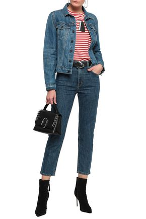 CURRENT/ELLIOTT Cropped high-rise slim-leg jeans