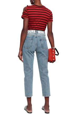 CURRENT/ELLIOTT The Vintage Cropped distressed printed high-rise slim-leg jeans