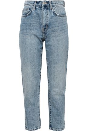 CURRENT/ELLIOTT Printed high-rise slim-leg jeans