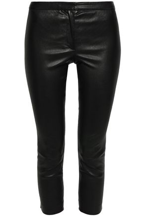 THEORY Cropped leather skinny pants