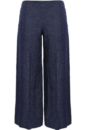 THEORY Cropped linen wide-leg pants
