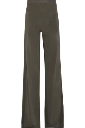 RICK OWENS Rib-paneled silk wide-leg pants