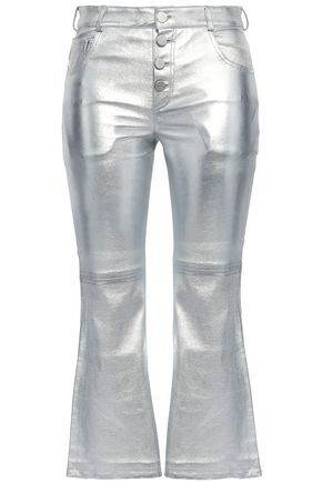 EACH X OTHER Coated metallic leather bootcut pants