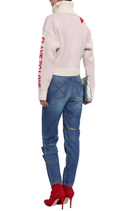 EACH X OTHER Cutout faded boyfriend jeans