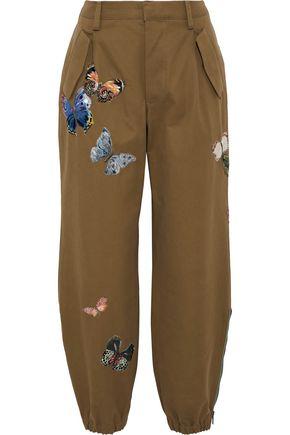 VALENTINO GARAVANI Appliquéd cotton-twill tapered pants